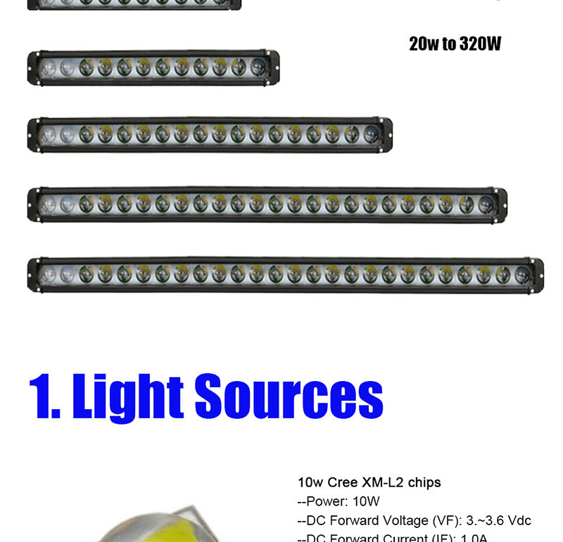 20w 40w 60w 100w 180w 240w 260w 280w 300w 320w LED Light Bar with CREE Chips Offroad Led Work Light Bar Driving Beam Combo for 12v 24v Truck ATV SUV 4WD 4x4 (3)