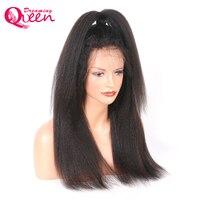 Mông cổ Kinky Straight Tóc Giả Glueless Lace Front Human Tóc Giả Tóc với Bé Tóc Remy Tóc Ý Yaki Dreaming Nữ Hoàng Tóc