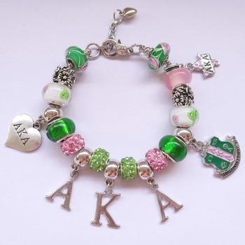 AKA letters Sorority heart charm bracelet greek custom bracelet 1