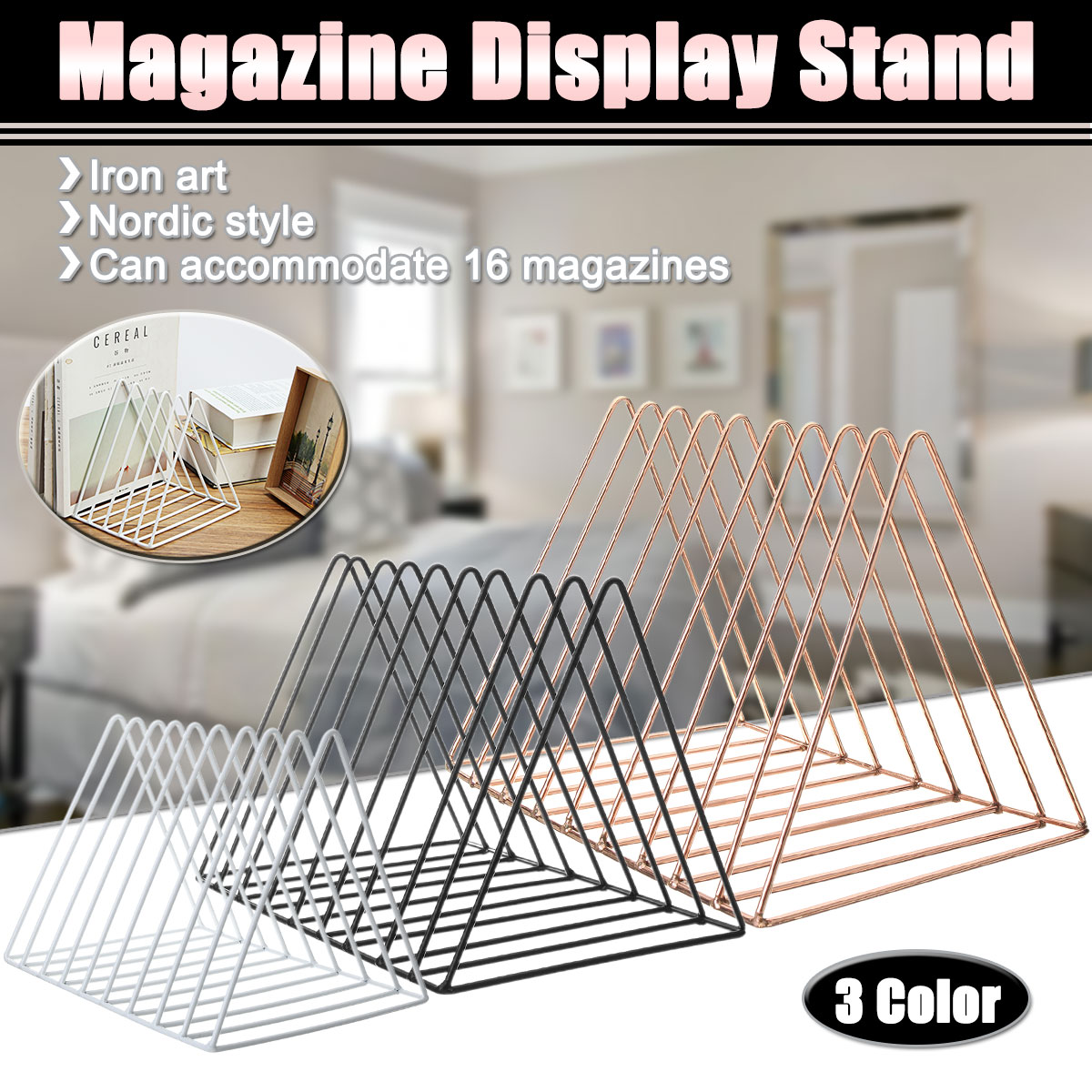 Iron Bookshelf Magazine Display Stand Newspapers Storage Rack Vintage Organizer Storage Holder Office Decor Book Rack Bookends цена