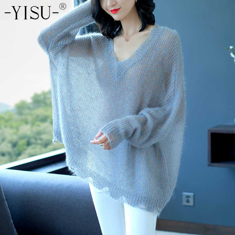 YISU 2018 Autumn Mohair Sweater Loose Thin Sweater Women V Neck Cracked sleeve Knitted sweaters Female Knitwear wool Pullover