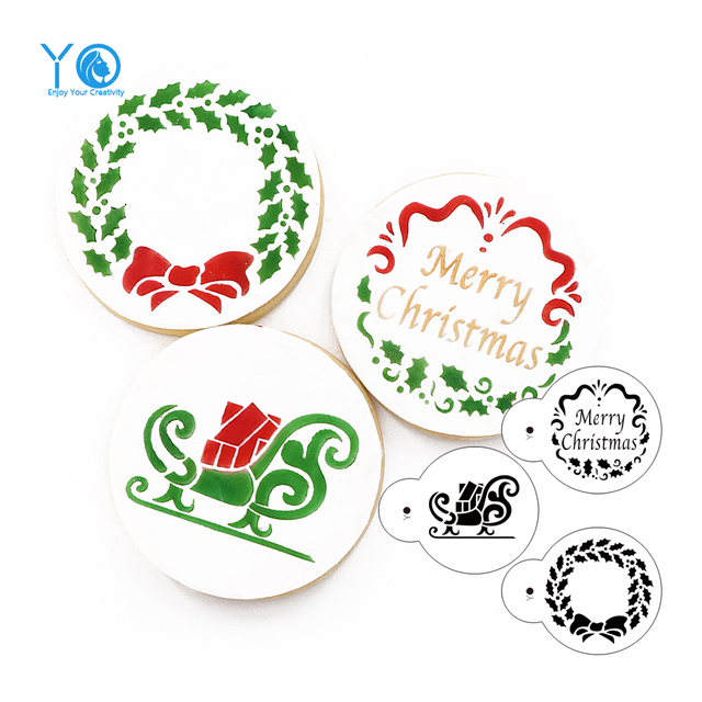 Us 5 8 3pcs Lot Merry Christmas Cookie Mold Cookies Stencil Cup Cake Decorations Cake Design Tools For Cake Fondant Mold Send A Video In Cookie