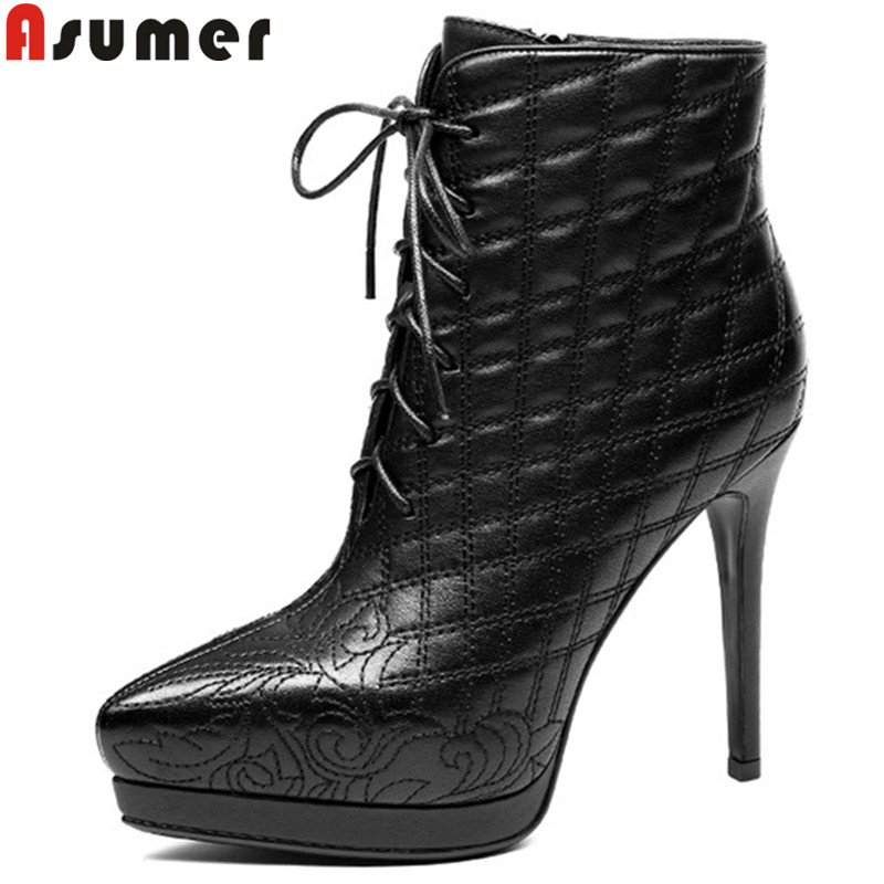 ASUMER fashion pointed toe zip genuine leather boots zip super high ankle boots for women thin high lace up ladies boots black jialuowei women sexy fashion shoes lace up knee high thin high heel platform thigh high boots pointed stiletto zip leather boots