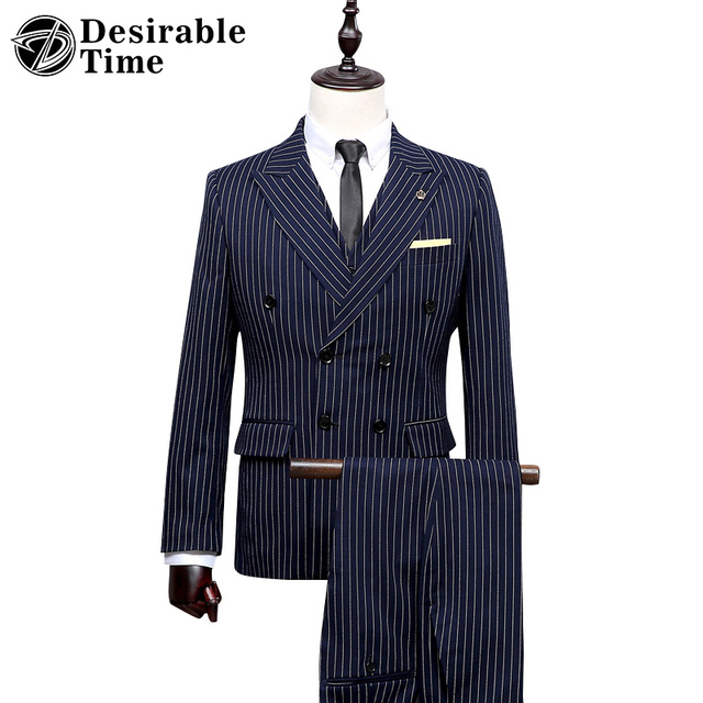 Custom Made Azul Marinho Listrado Ternos do Casamento Dos Homens Inglaterra Estilo Clássico Double Breasted Terno Retro Homens DT280