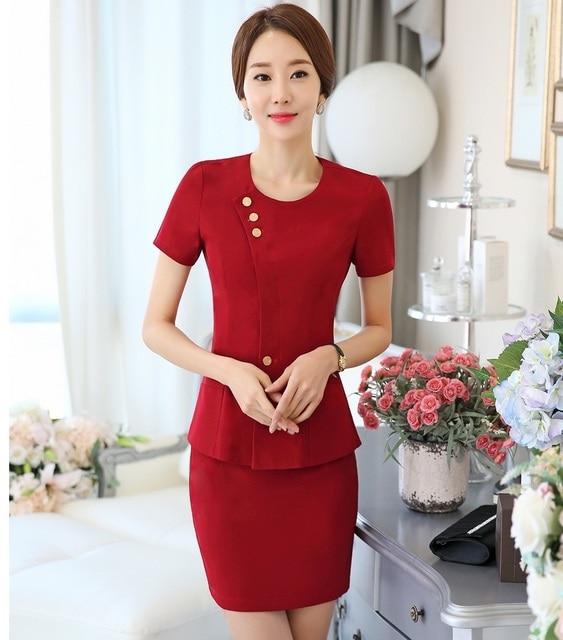 OL formais Estilos Professional Business Suits Com Jaquetas E Blazers Feminino Saia Outfits Conjuntos de Roupas Desgaste Do Trabalho de Escritório Vermelho