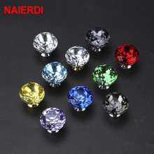NAIERDI 30mm Diamond Shape Crystal Knobs Cabinet Knobs Handles Kitchen Cupboard Handles Drawer Knobs Furniture Handle