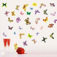 100pcs/Pack 42 Colourful Butterflies Wall Sticker Decal Boy Girl Kid Art