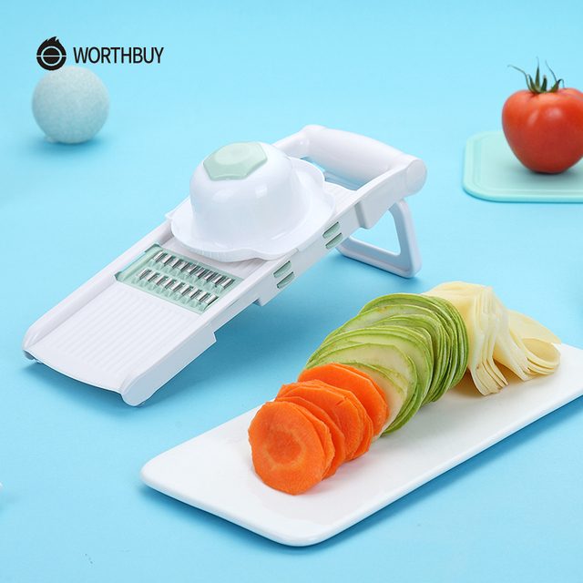 WORTHBUY Mandoline Vegetable Cutter With 5 Stainless Steel Blade Vegetable Slicer Potato Carrot Grater Kitchen Accessories 4