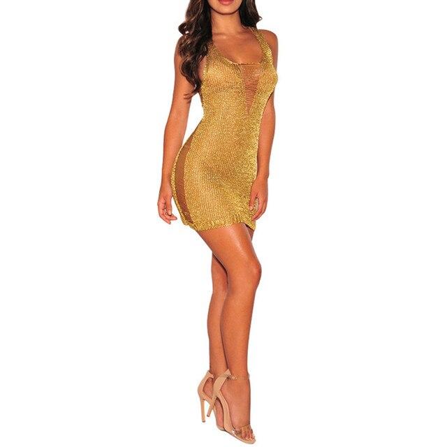 9d5b184de0c3 Spiaggia di Usura Sexy Del Mini Vestito Estivo Prospettiva Maglia Vestito  Discoteca Oro In Oro Rosa