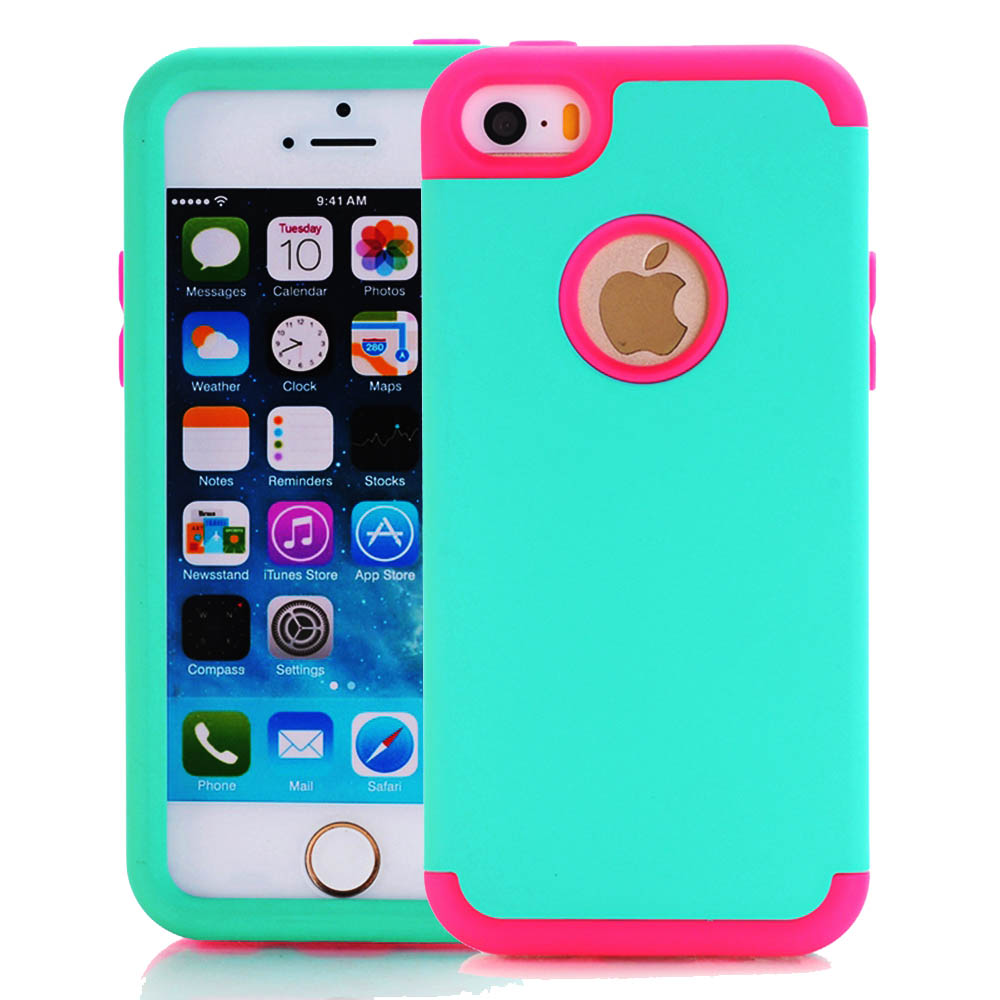 Cute Heavy Duty Shockproof Hybrid Silicone PC Case Cases for iPhone SE 5S 5 5C Back Cover Anti-Knock Protective Protection