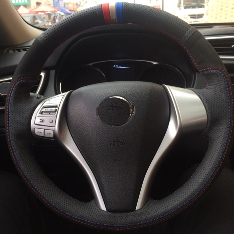 Top Layer Leather+Nubuck Leather Handmade Sewing Steering Wheel Covers Protect For Nissan X-TRAIL Qashqai