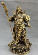 free shipping S06738 15″ Chinese Bronze Folk 9 Dragon Warrior Standing GuanYu GuanGong God Statue