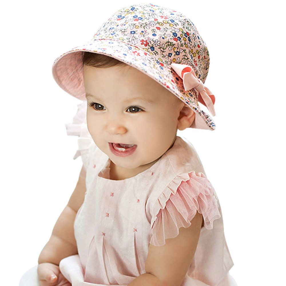 642d963a1c165 4M-2Y Baby Gift Infant Floral Bowknot Beach Outdoor Sun Bucket Hat Double  Side Wearable Cap