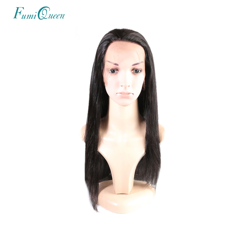Ali Fumi Queen Hair product Brazilian Remy Straight 360 Lace Front Human Hair Wigs natural color 150 Density Free Shipping