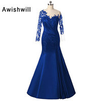 Thời trang Tầng New Length Mermaid Dress Formal Ren Appliques Satin Mother of The Bride Dresses Long Sleeve Evening Dresses