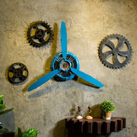 3 color Industrial Air Plane Propeller Metal Wall Clock Mute And HD Display Aeroplane Retro Ornament Decor Crafts mx3050953