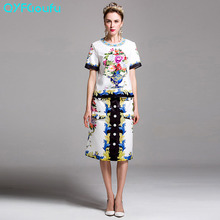 Runway Dresses Women 2017 Two Piece Set White Flower Floral Print Blouses Shirts + Knee Length Colorful Pencil Midi Skirts