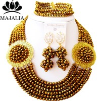 Majalia Classic Golden color African Beads Jewelry Set Crystal Bea Bride Jewelry Nigerian Wedding Beads Jewelry Sets 6CP007