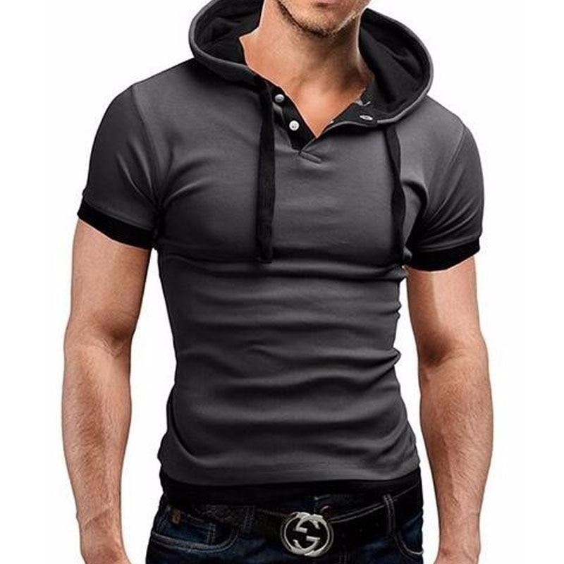 Férfi póló 2018 nyári divat kapucnis sling rövid ujjú pólók Férfi Camisa masculina póló vékony férfi felső 4XL