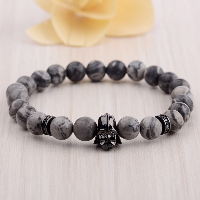 DOUVEI 17 New Charm Mens Star Wars Darth Vader CZ Beaded Bracelets 8mm Bright Black Lava Stone AB1012 8