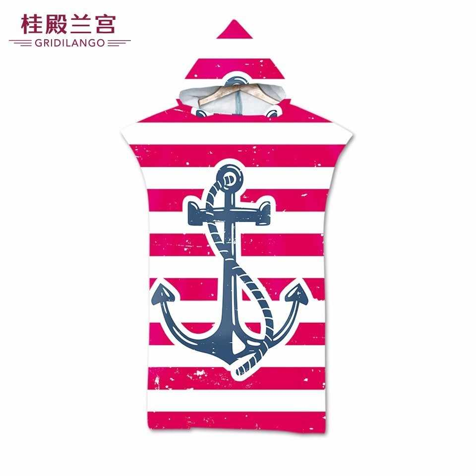 Double Sided Printed Anchor Hooded Bath Towels Cloak Microfiber Stripe Floral Ferry For Adults Men Women Beach Towels Dropship