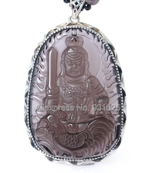 925 Sterling Silver Natural Ice Clear Obsidian Carved Chinese Zodiac Cock Amulet BUddha Pendant + Beads Necklace fashion Jewelry