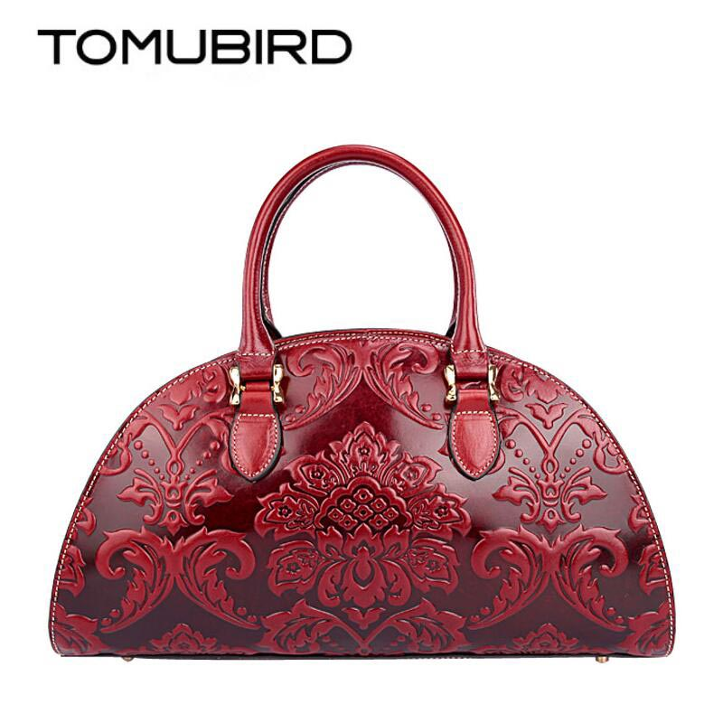 TOMUBIRD new Superior cowhide leather Designer Classic Ladies Embossed Floral Genuine Leather bag Shoulder Handbags shell bag 2018 new superior cowhide leather classic designer hand embossing top leather tote women handbags genuine leather bag medium bag