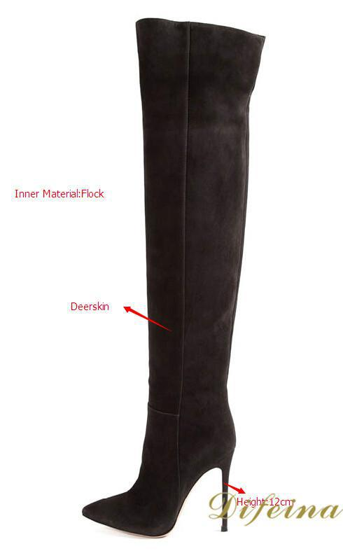 New Arrival Brand Designer Deerskin Leather Black Long Boots Over The Knee Pointed Toe Women Boots Shoes Woman botas femininas new arrival black red full grain leather fashion women boots pointed toe over the knee thin heels woman shoes ab1011