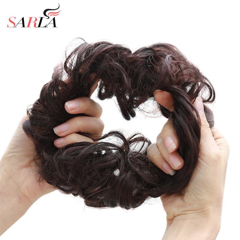Dağınık topuz Scrunchies sentetik sahte esnek saç Chignon uzatma gelin gül sarma kıvırcık elastik toka postiş kadınlar için