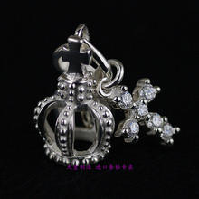 Thailand, The Girl Is Shining And Crown Solid Sterling Silver Cross Pendant