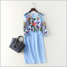 Stunning New 2017 spring autumn fashion women floral heavy embroidery sexy dress 3/4 sleeve patchwork mesh elegant dresses XXL