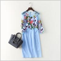 Superbe Nouveau 2017 printemps automne mode femmes floral lourd broderie sexy robe 3/4 manches patchwork mesh élégant robes XXL
