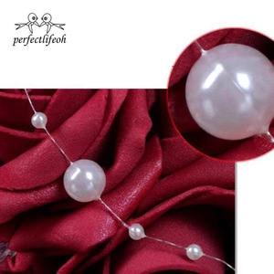 Image 5 - Perfectlifeoh ramo de rosas artificiales para dama de honor, color burdeos, Rosa/rojo/Blanco/Burdeos