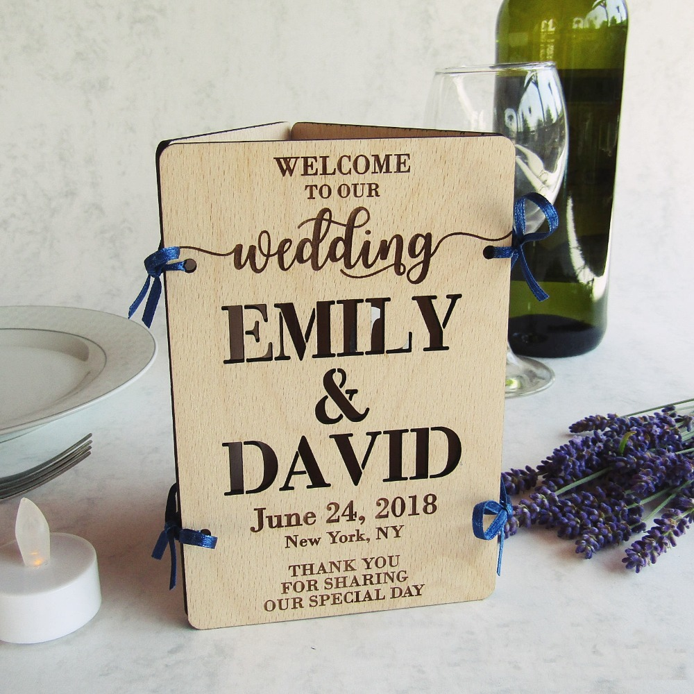 Custom Laser Cut Wood Wedding Table Decoration  Welcome Sign, Table Number, Menu & Led Candle  Centerpieces, Reception,