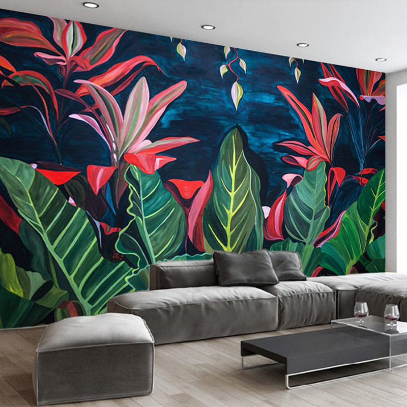 Custom Mural Wall Painting Hand Painted Rain Forest Banana Leaves Large Mural Wallpaper Living Room Bathroom Photo Wall Paper hand painted silk wallpaper painting lotus with birds hand painted wall paper wallcovering many pictures backgrounds optional
