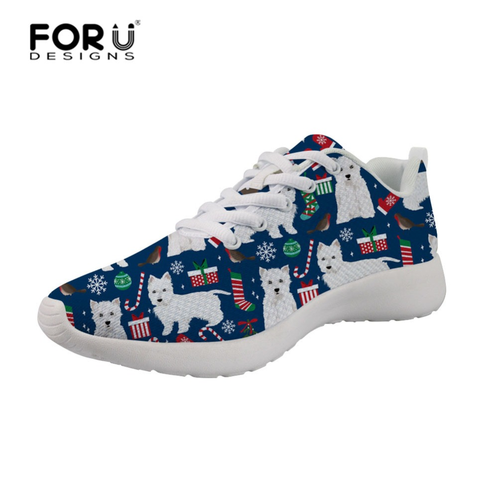 FORUDESIGNS Women Sneakers Walking-Shoes Mesh Flat Breathable Casual Fashion Terrier