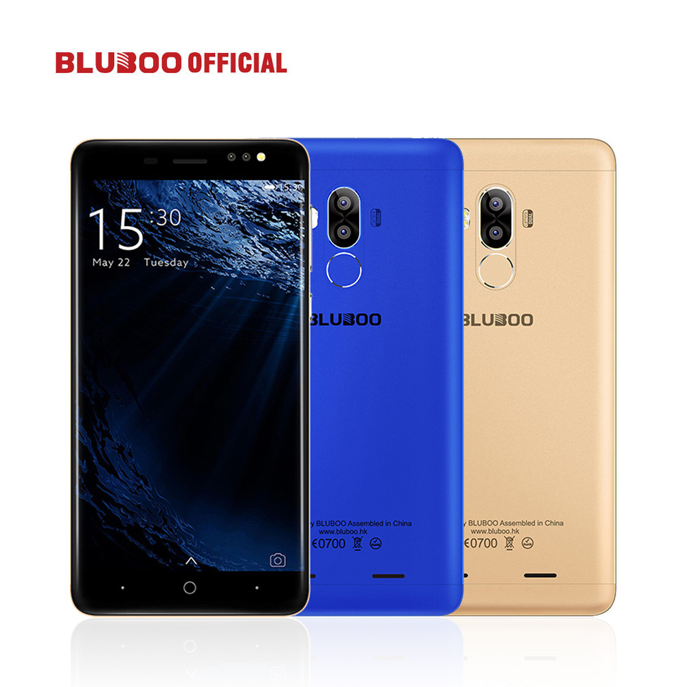 BLUBOO D1 5.0'' HD Smartphone MTK6580 Qual Core 2G RAM 16G ROM Cellphone Dual Back Camera Android 7.0 Fingerprint Mobile Phone