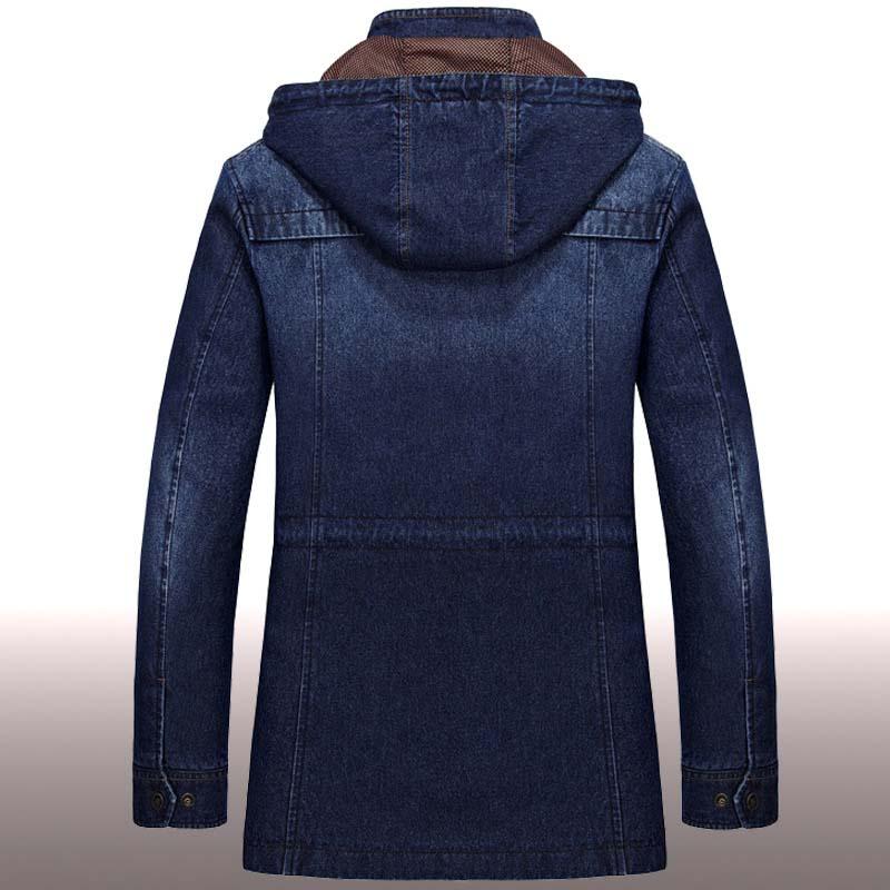 الخريف الشتاء رعاة البقر معطف الرجال الجينز سترة التطريز مقنعين الدنيم Trenchcoat كبير حجم القطن فضفاضة سترة واقية الملابس الذكور-في جواكت من ملابس الرجال على  مجموعة 2
