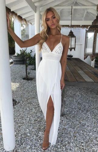 1fe8d62313b05 US $9.27 29% OFF|Boho Women Chic Dress Backless Halter V Neck Maxi Beach  Bohemia Dresses Sundress Women Solid Criss Cross Backless Split Dress-in ...