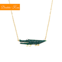 Green Crocodile Zircon Pendant Necklace Titanium Stainless steel Chain Necklace Gold Color Inlaid Zircon Fashion Women Jewelry retro elegant zircon inlaid 18k gold plated pendant necklace golden green