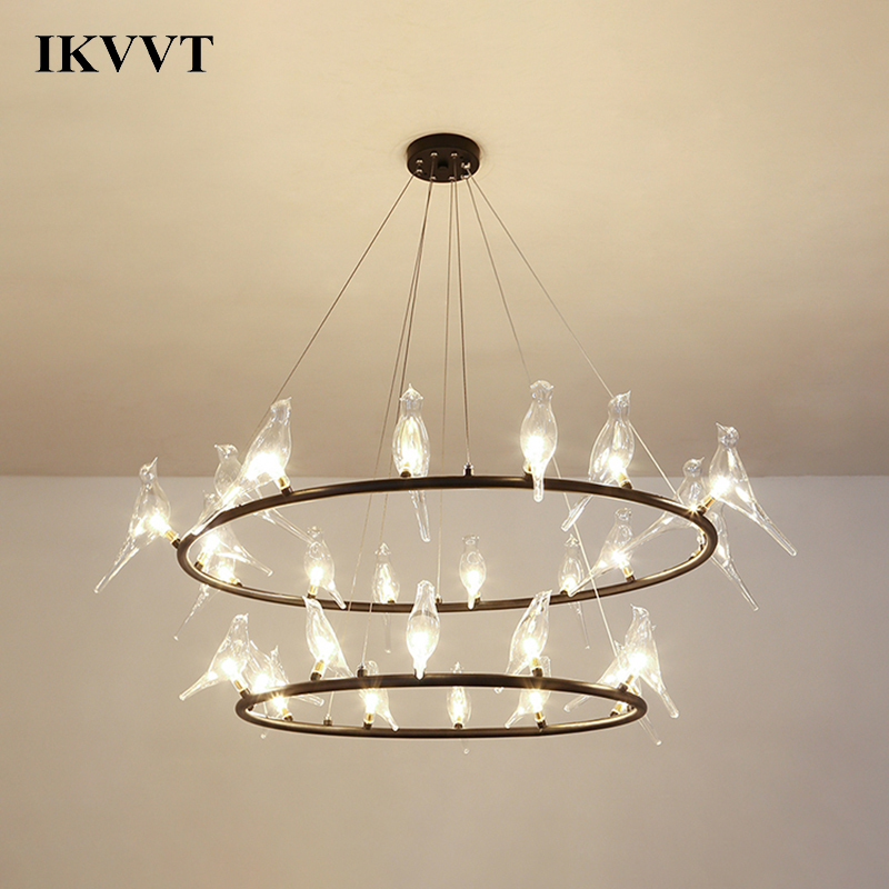 IKVVT Pendant Lamp Nordic Creative Glass Bird Pendant Lights Modern Living Room Bedroom Restaurant Coffee Pendant Lamp chinese style classical wooden sheepskin pendant light living room lights bedroom lamp restaurant lamp restaurant lights