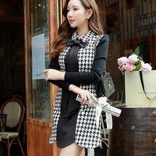 dabuwawa 2016 new autumn winter slim casual retro bow a-line black plaid woolen tank dress women big sizes pink doll