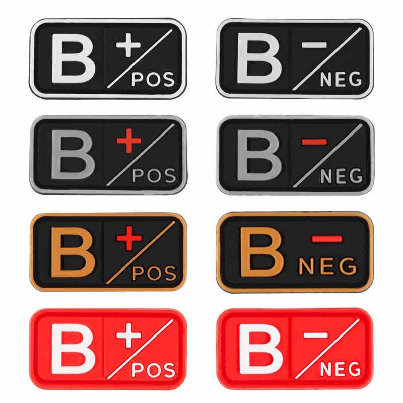 3D PVC A + B + AB + O + pozytywne POS a-b-ab-o-negatywne NEG grupa krwi Patch taktyczne naszywki podnoszące morale wojskowe gumowe odznaki