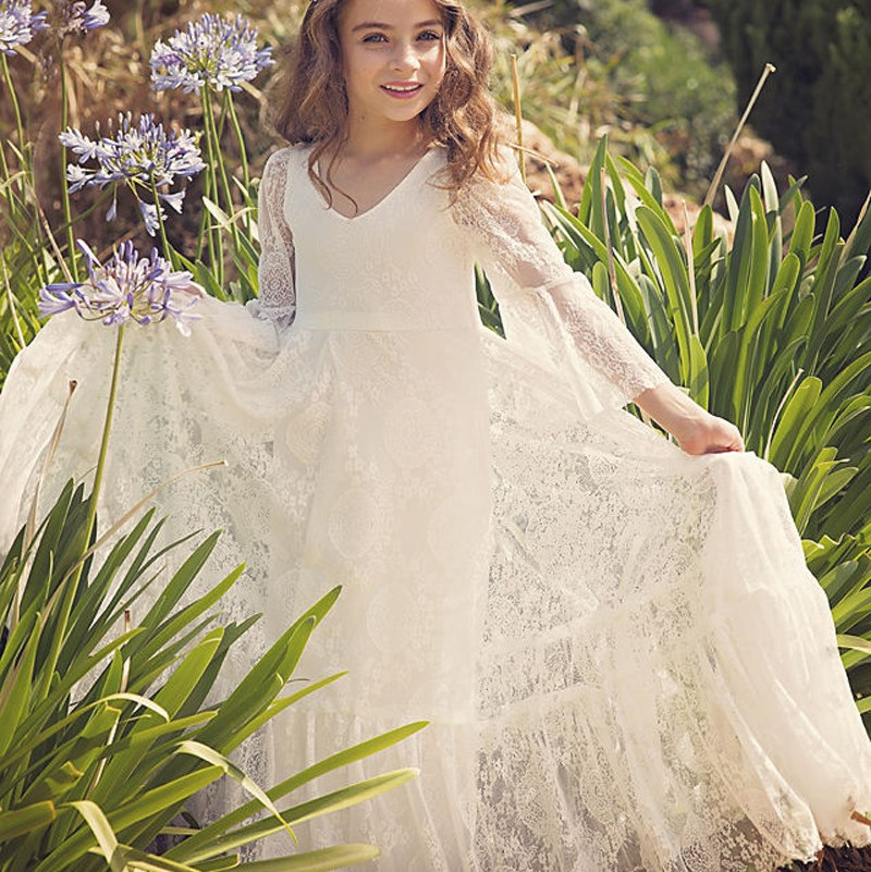 Vintage   Flower     Girl     Dress   For Wedding Elegant   Girl     Dress   For First Communion Long Sleeve White Lace Vesdido Do Novia Custom