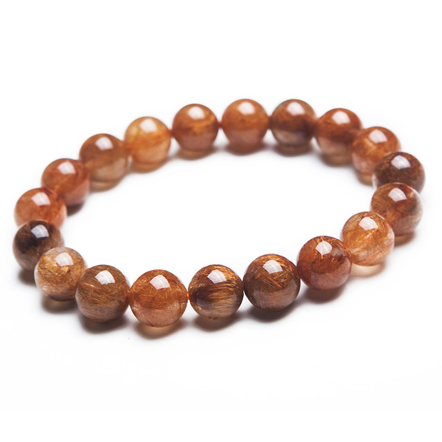 11mm Genuine Natural Brazilian Copper Hair Rutilated Quartz Stretch Bracelets For Women Charm Round Crystal Bead Bracelet