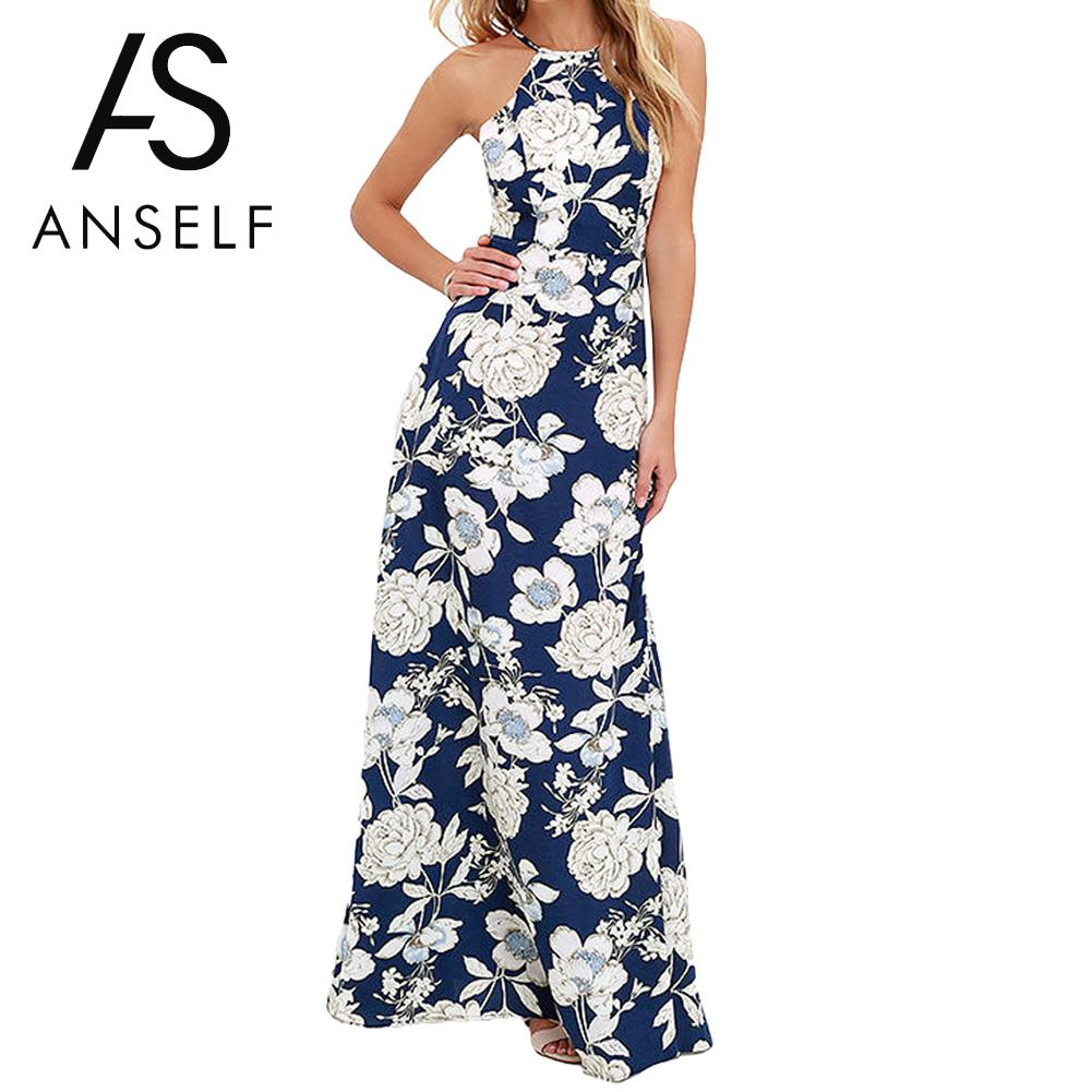 7abd122f5ac Anself Vintage Floral Print Summer Long Maxi Dress Off Shoulder Sexy Women  Causal Dress Plus Size Beach Party Dresses Vestidos