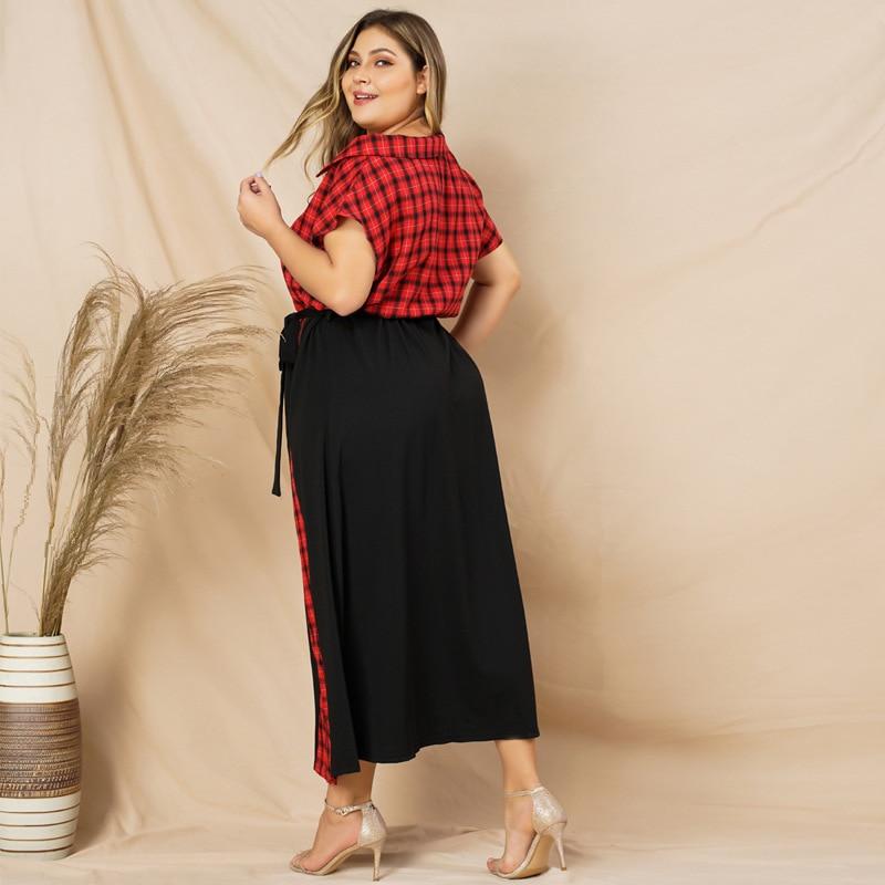 Red Plaid Dress 2019 Fashion Women Summer V Neck Short Sleeve Multicolor Elegant Party Dresses Plus Size Maxi Long Dresses