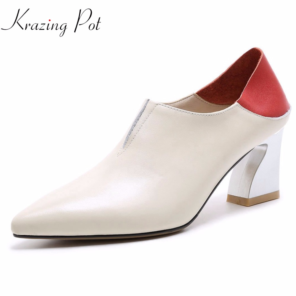 Krazing pot 2018 genuine leather gladitor fashion brand shoes pointed toe metal high heels women pumps mixed color handmade L31 krazing pot 2018 cow leather simple design breathable high heels hollow women pumps round toe brown white color brand shoes l92