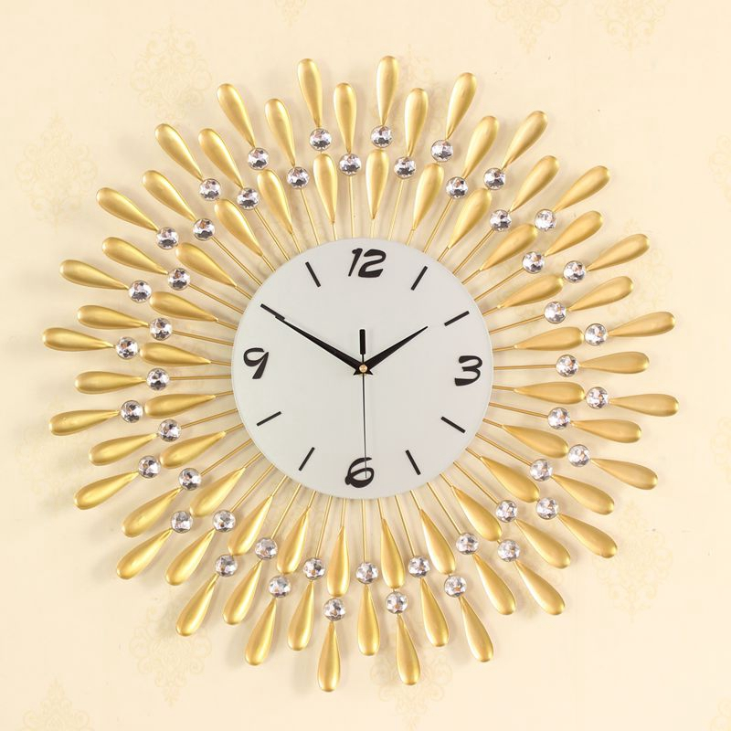 3D Wall Clock Big Wall Watches Living Room 43pcs Diamonds Decorative ...