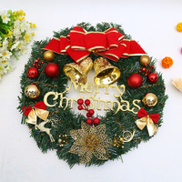 Merry Christmas Garland Pine Leaves Red Gold Bow Christmas Wreath Flowers Xmas Decoration Ornaments Party Supplies Home Decor